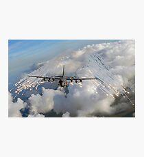An AC-130U gunship jettisons flares over Florida. Photographic Print