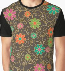 Filigree Floral_Brown Graphic T-Shirt