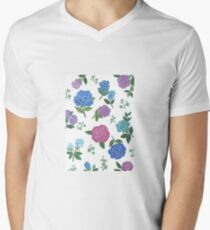Blue and purple roses floral pattern Men's V-Neck T-Shirt