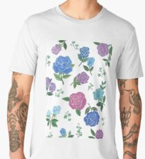 Blue and purple roses floral pattern Men's Premium T-Shirt