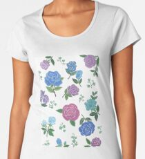 Blue and purple roses floral pattern Women's Premium T-Shirt