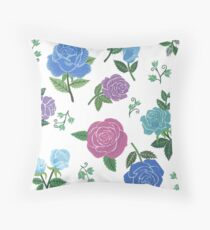 Blue and purple roses floral pattern Throw Pillow