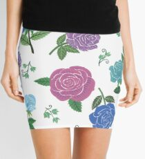 Blue and purple roses floral pattern Mini Skirt