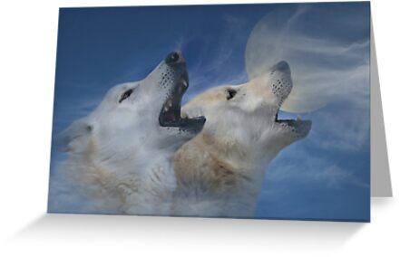 Tarjetas De Felicitación Espíritu En El Cielo Dos Lobos Aullando En