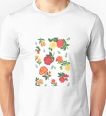 Red, yellow, and orange roses floral pattern Unisex T-Shirt