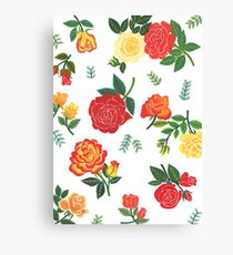 Red, yellow, and orange roses floral pattern Canvas Print