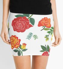Red, yellow, and orange roses floral pattern Mini Skirt