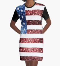USA flag red blue sparkles glitters Graphic T-Shirt Dress