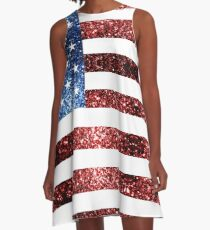 USA flag red blue sparkles glitters A-Line Dress