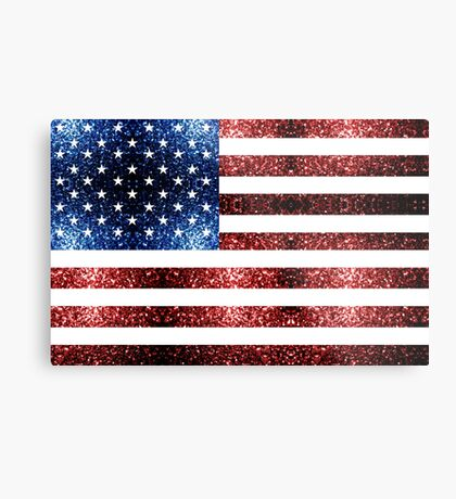 USA flag red blue sparkles glitters Metal Print