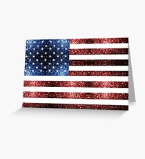 USA flag red blue sparkles glitters Greeting Card