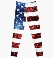 Rotes Blau der USA-Flaggen funkelt Leggings