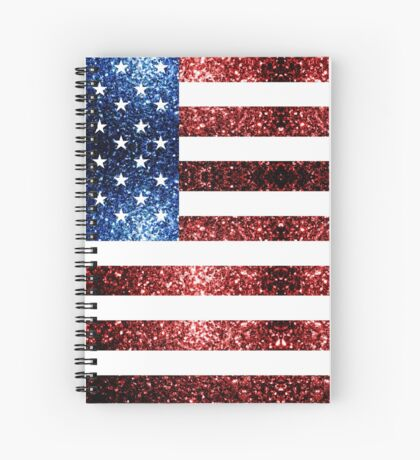 USA flag red blue sparkles glitters Spiral Notebook