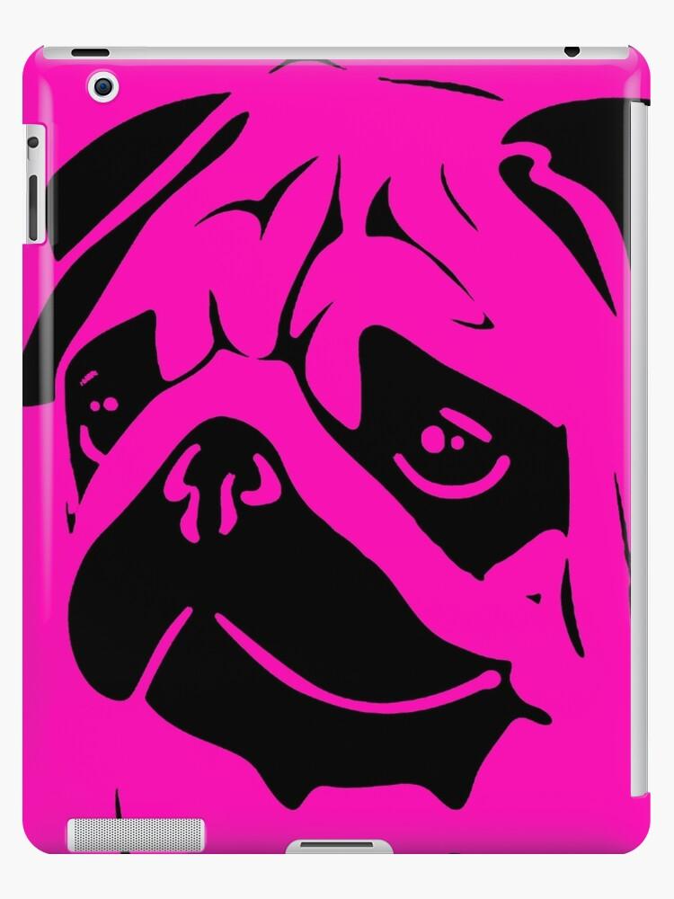 Neon pink black pug dog face by artisticattitud