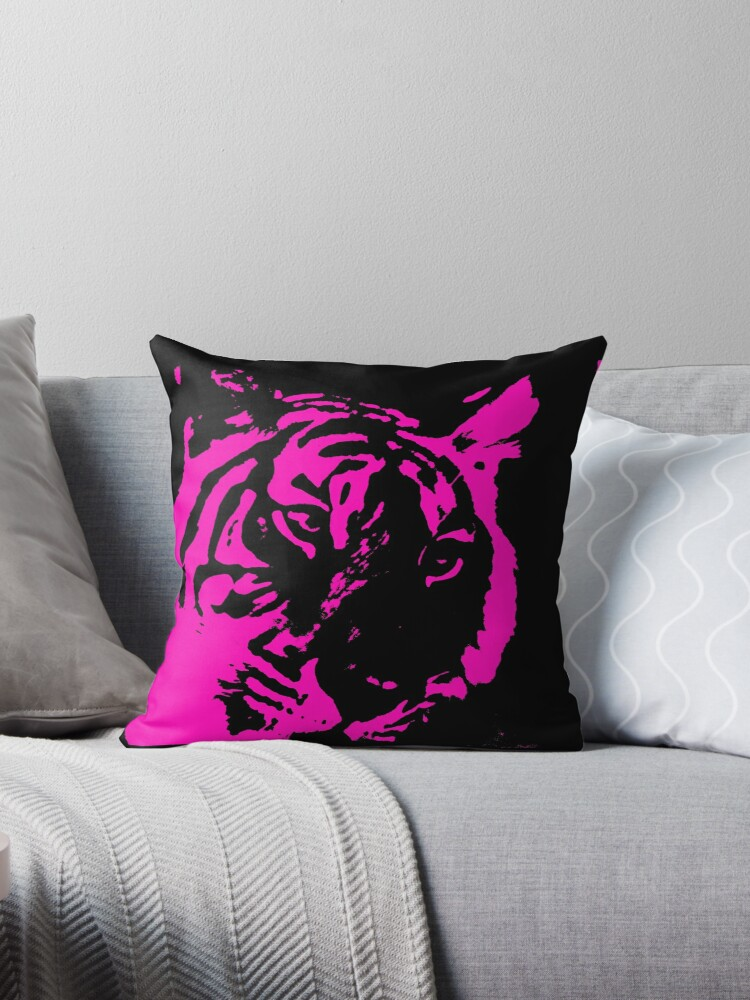 Neon pink black tiger face print by artisticattitud
