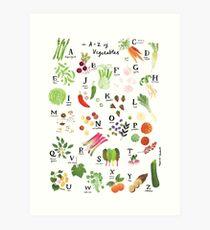 Vegetable Alphabet Illustration Art Print