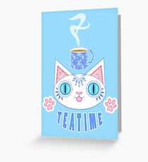 Teatime Cat Greeting Card