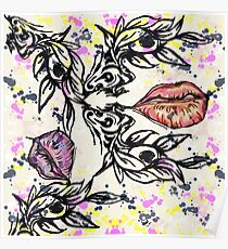 Abstract beauty garden lips Poster