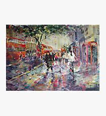 Red London Buses & Phone Boxes - Painting Photographic Print