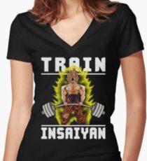 TRAIN INSAIYAN - Goku Deadlift Women's Fitted V-Neck T-Shirt
