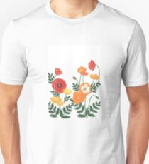 Red, yellow, and orange floral pattern no.3 Unisex T-Shirt
