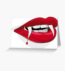 Bloody Vampire Lips Halloween Red Design  Greeting Card