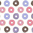 Watercolor Donut Pattern by latheandquill