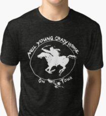 TOUR NEIL YOUNG CRAZY HORSE TELUR BLACK Tri-blend T-Shirt