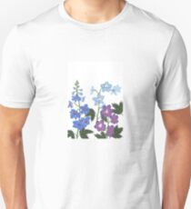 Delicate blue and purple flowers Unisex T-Shirt