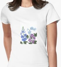 Delicate blue and purple flowers Women's Fitted T-Shirt