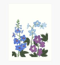 Delicate blue and purple flowers Art Print