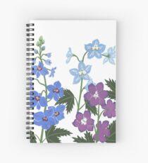 Zarte blaue und violette Blumen Spiralblock