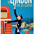 To London by Jet Clipper Via Pan Am Airlines Vintage Travel Poster by Framerkat