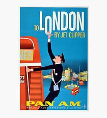 To London by Jet Clipper Via Pan Am Airlines Vintage Travel Poster Photographic Print