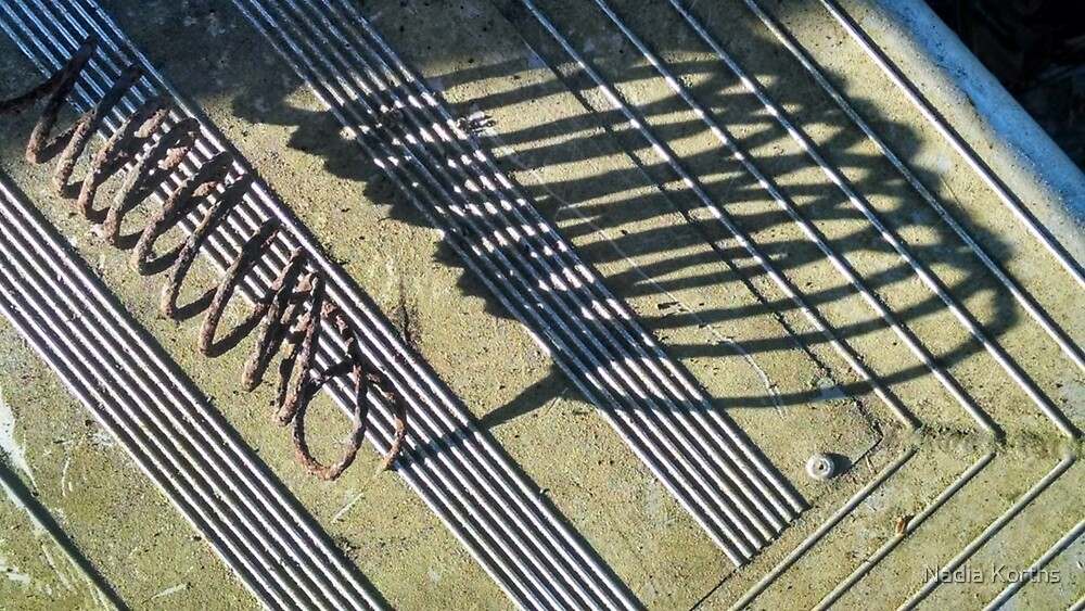 Coils of rust and shadow on lines by Nadia Korths