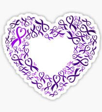 Raising Awareness for a Cause - Charity Ribbon Heart (Purple) Sticker