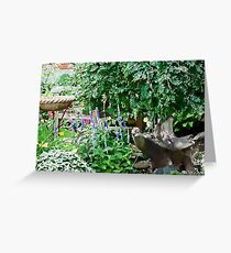 Garden Scene Gouache  Greeting Card