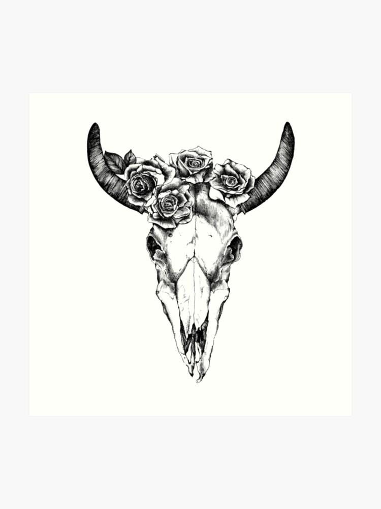 Cow Skull Black And White Art Print