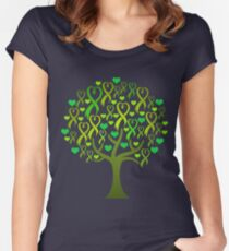 Raising Support & Awareness - Charity Ribbon Tree (Green) Women's Fitted Scoop T-Shirt