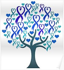 Raising Support & Awareness - Charity Ribbon Tree (Blue) Poster