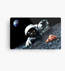 Space Cat Wants Pizza Metal Print