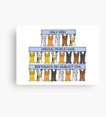 August 17th Birthday Cats. Canvas Print