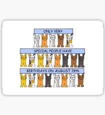 August 19th Birthday Cats Sticker