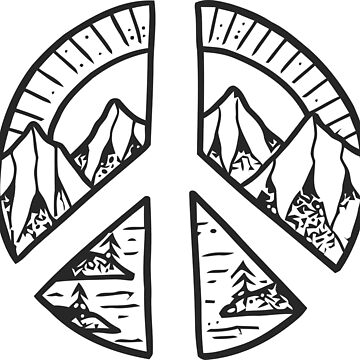Peace Sign and Mountain Design by LeCouleur
