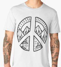 Peace Sign and Mountain Design Men's Premium T-Shirt