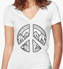 Peace Sign and Mountain Design Women's Fitted V-Neck T-Shirt