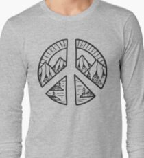 Peace Sign and Mountain Design Long Sleeve T-Shirt