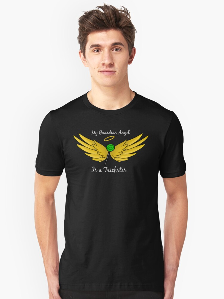 My Guardian Angel Is a Trickster WHITE TEXT Unisex T-Shirt Front