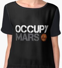 Occupy Mars White Women's Chiffon Top