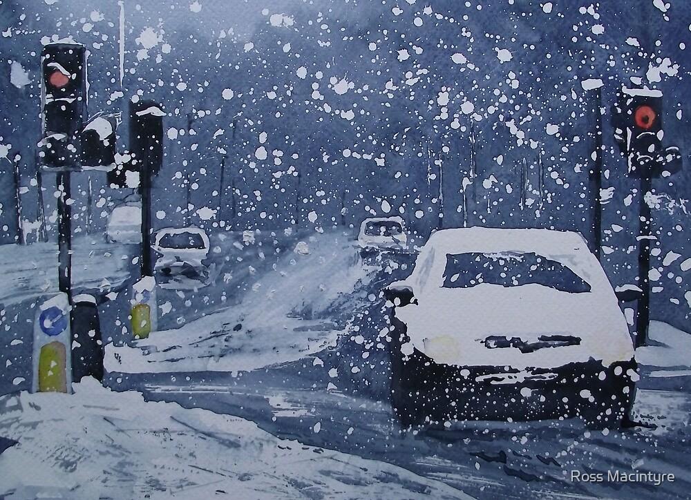 Cars In Snow by Ross Macintyre